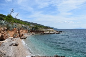 Picture of a pebble beach on the island of Hvar where I stayed for two nights.