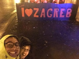 Pamela and I stopped to take a selfie with the Zagreb sign.